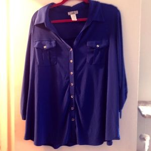 3/4 Sleeve Button Down Blouse